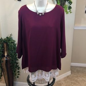 Burgundy Lace bottom blouse
